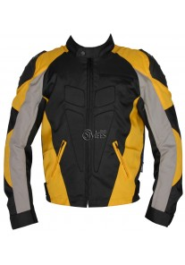 Men's Grey and Yellow Fabric Motorcycle Jacket