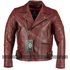 Classic Diamond Vintage Red Biker Leather Jacket