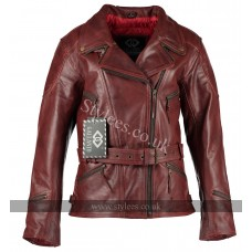 3/4 Vintage Red Distressed Demi Womens Biker Leather Jacket