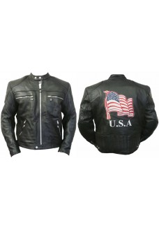 American Flag Cruiser Motorcycle Leather Jacket