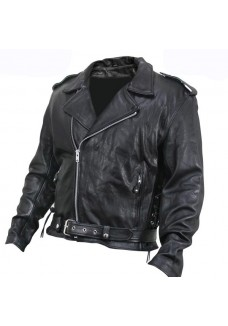 Armored Black Cowhide Leather Classic Biker Jacket