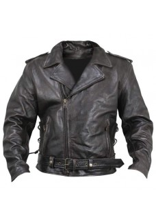 Armored Distressed Leather Classic Brown Biker Jacket