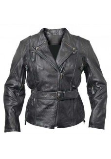 Armored Ladies Biker Leather Jacket