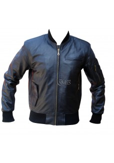 Stylees Modern Leather Bomber Jacket