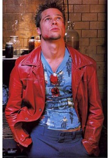 Brad Pitt Fight Club Red Leather Jacket