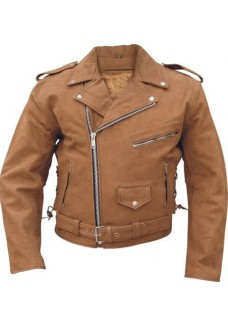 Terminator Style Brown Belted Brando Motorbike Leather Jacket