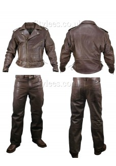 Brown Motorcycle Leather Jacket and Trousers