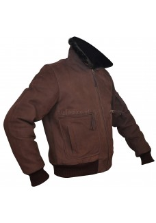 Men's Brown Nubuck Leather Fur Bomber Pilot Jacket