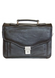 Small Single Clasp Brown Soft Leather Briefcase