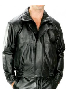 Classic Double Collar Zipper Bomber Leather Jacket