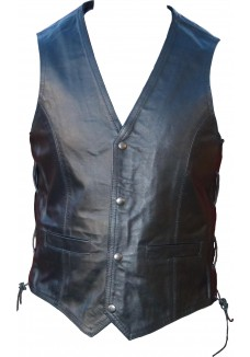 Classic Men's Leather Waistcoat with Side Lace