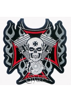 Cross, Motor and Skull Embroidered Patch