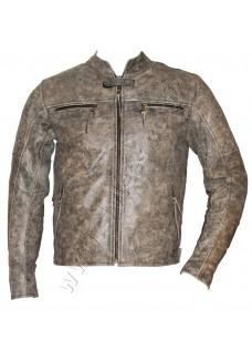 Collarless Distressed Vintage Leather Jacket
