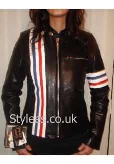 Ladies Easy Rider Striped Leather Motorcycle Jacket Size S