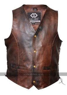Classic Mens Vintage Brown Side Lace Motorcycle Leather Waistcoat Vest