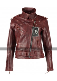 Vintage Red Classic Ladies Brando Motorcycle Fashion Leather Jacket