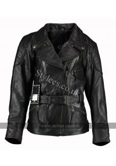 3/4 Vintage Black Demi Womens Long Biker Leather Jacket