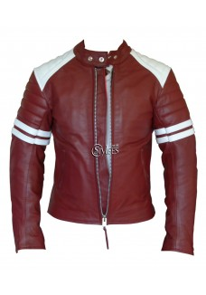 Fight Club Mayhem Red Leather Jacket