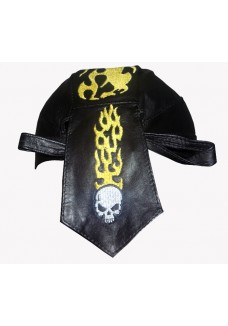 Black Flame Skull Leather Headwrap