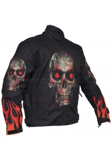 Flames & Skull Armoured Motorcycle Textile Jacket