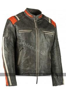 Men's Distressed Orange Striped Motorcycle Leather Jacket