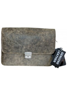 Single Clasp Grey Vintage Leather Document Bag
