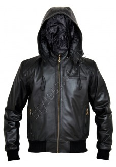 Zip-off Hood Bomber Leather Jacket