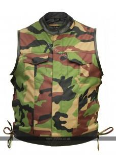 Camouflage Fabric Cut off Biker Waistcoat