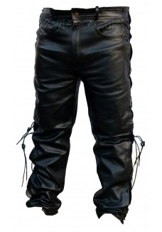 502 Jean Styled Leather Pants with Laces