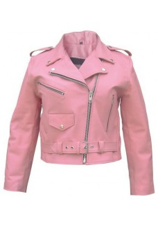 Terminator Style Ladies Belted Brando Motorbike Pink Leather Jacket