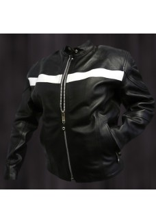 Ladies Black Racer Jacket with White Stripe