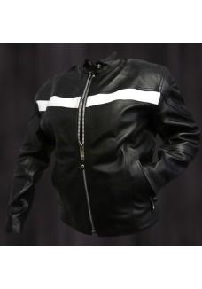 Ladies Black Racer Jacket with White Stripe