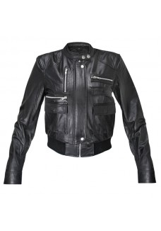 Ladies Collarless Fitted Lambskin Bomber Jacket