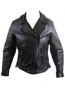 Ladies Braided Premium Leather Motorcycle Jackets