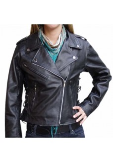 Terminator Style Ladies Belted Brando Motorbike Black Leather Jacket