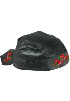 Lady Rider with roses Leather Headwrap