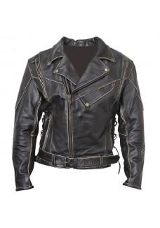 Men's Antique-Brown Rub-Off Motorcycle Jacket