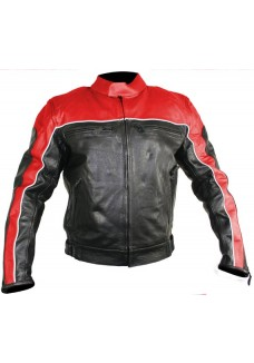 Men's Black and Red Racer Motorcycle Jacket