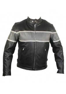 Men's Cool Rider Collarless Motorcycle Leather Jacket