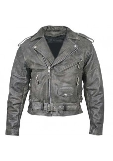 Distressed Leather Mens Belted Biker Jacket