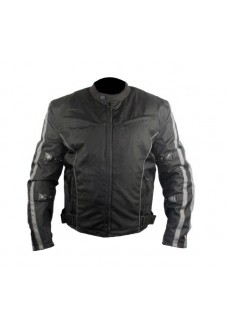 Men's Black and Grey Fabric Motorcycle Jacket