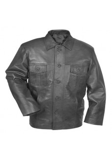 Men's Classic Black Button Leather Jacket