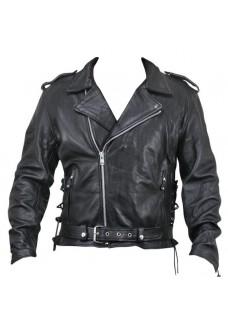 Armored Black Leather Classic Biker Jacket