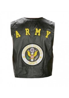 Men's Military Army Leather Vest Waistcoat