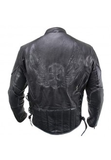 Men's Premium Black Distressed-Leather Flying Skull Racer Jacket