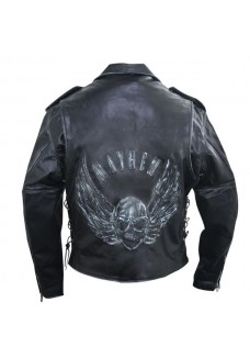 Men's Premium Black Distressed-Leather Jacket with Embossed Flying Skull