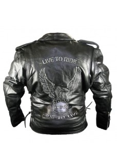 Men's Premium Classic Black Embossed Eagle Motorcycle Jackets