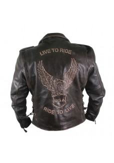 Men's Premium Distressed Retro Brown Embossed Eagle Leather Jackets