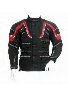 Men's Black Racing Armored Motorcycle Textile Jacket