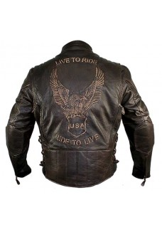 Retro Brown Cowhide Distressed Embossed Cruiser Biker Jacket